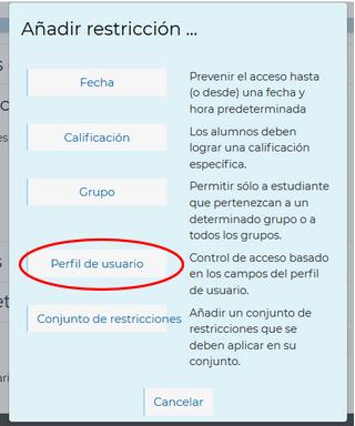 Restricciones por perfil